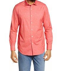 men's bugatchi ooohcotton tech chambray knit button-up shirt, size xxx-large - orange