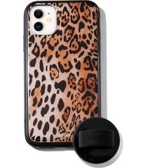 sonix watercolor leopard iphone 11 case & slide silicone phone ring - brown