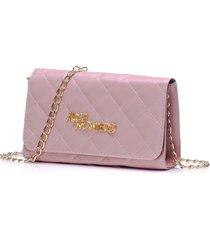 bolsa alice monteiro clutch alça corrente metalassê rosa