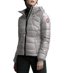 canada goose abbott packable hooded 750 fill power down jacket, size xx-small in light grey at nordstrom