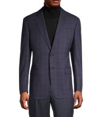 armani collezioni men's standard-fit windowpane wool blazer suit - brown - size 56 (46) r