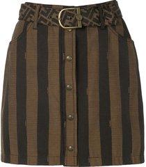 fendi pre-owned striped mini skirt - brown