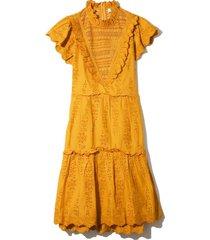 lea ruffle dress in turmeric