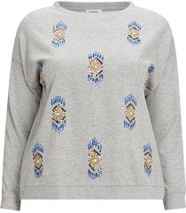 sweatshirt med pärlbrodyr och rund halsringning