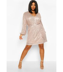 plus sequin belted blouson sleeve wrap dress, gold