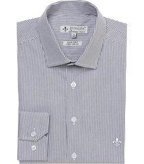 camisa dudalina manga longa fio tinto listrado masculina (cinza claro, 45)