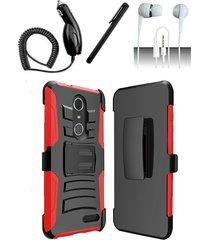 zte grand x4 z956 black / red hybrid armor dual layer case w/ kickstand holster