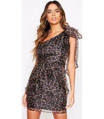 one shoulder leopard organza dress, leopard