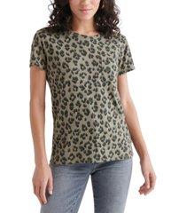 lucky brand cotton cheetah-print top