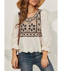 camicetta da donna patchwork a maniche lunghe con scollo a o all'uncinetto