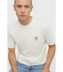 selected homme slhfresno emb ss o-neck tee w t-shirts & linnen offwhite