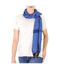 cotton scarf, 'mesmerizing cobalt' (guatemala)