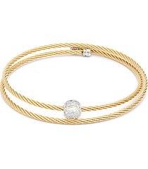 14k yellow gold, yellow-tone stainless steel & white topaz cable bracelet