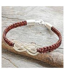 leather and sterling silver braided bracelet, 'double brown infinity' (thailand)