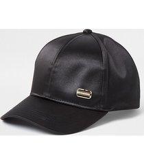 river island womens black satin branded cap
