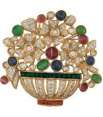 a.n.g.e.l.o. vintage cult 1980s crystal-embellished brooch - gold