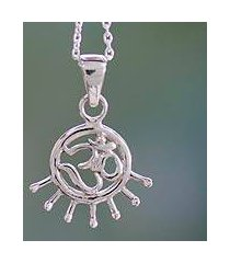 sterling silver pendant necklace, 'flames of faith' (india)