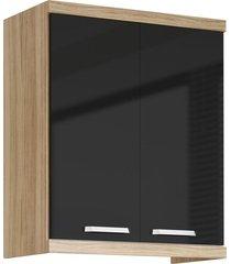 armário aéreo 2 portas 700mm sicília argila-texturizada e preto-brilho multimóveis