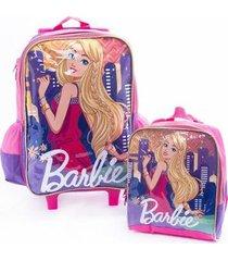 kit mochila de rodinha infantil + lancheira original barbie feminina