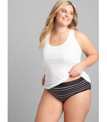 lane bryant women's cotton high-leg brief panty with wide waistband 34/36 tapshoe stripes