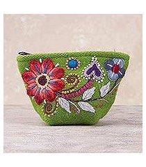 alpaca blend coin purse, 'spring green shopper' (peru)