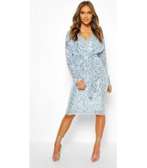 bridesmaid occasion sequin plunge midi dress, powder blue