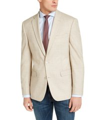 bar iii men's slim-fit tan windowpane plaid sport coat, created for macy's