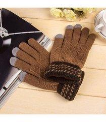 guanti invernali a maglia da uomo touch screen di alta qualità addensare guanti caldi a tinta unita