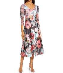 women's komarov lace sleeve chiffon midi dress, size small - black