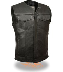 soa men's concealed carry collarless premium leather biker outlaw mc club vest