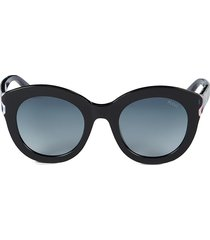 emilio pucci women's 51mm round sunglasses - black gold