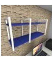 prateleira industrial para escritório aço branco mdf 30 cm azul escuro modelo indb19azes