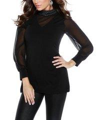 women's rhinestone mock neck blouson sleeve tunic (49% off) - comparable value $39