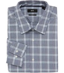 boss hugo boss men's slim-fit windowpane check dress shirt - blue - size 16