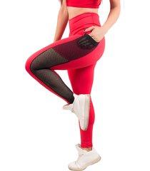 calça bella fiore modas legging fitness bolso tela vermelha
