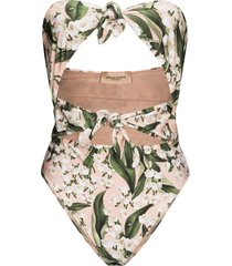 adriana degreas muguet foliage-print bandeau swimsuit - pink