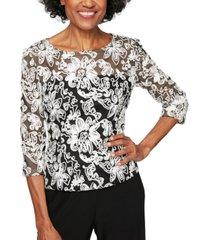 alex evenings embellished tulle blouse