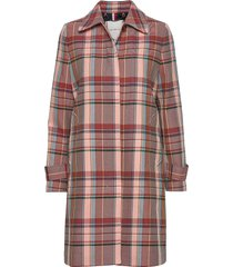 tess cotton blend check mac trenchcoat lange jas rood tommy hilfiger
