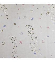 kit 2 rolos de papel de parede fwb fundo bege com estrelas coloridas