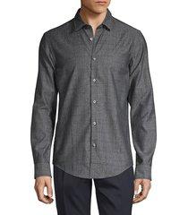 boss hugo boss men's slim-fit plaid shirt - grey - size s