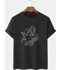 maglietta a maniche corte da uomo con stampa linea cupid angel line 100% cotone
