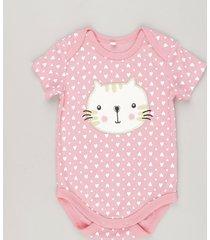 body gatinha estampado de corações rosa