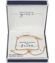 gratitude & grace crystal baguette & cross charm bolo bracelet in gold-flash