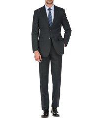english laundry men's slim-fit plaid wool-blend suit - dark grey - size 38 r