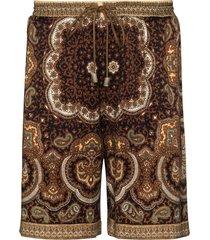 nanushka doxxi bandana-print shorts - brown