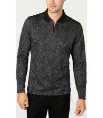 alfani men's jacquard zip-collar long sleeve polo shirt, created for macy's