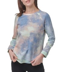marc new york performance women's printed french terry sweatshirt - overcast - size m