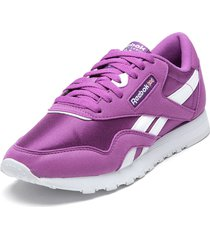 zapatilla cl nylon color morado reebok
