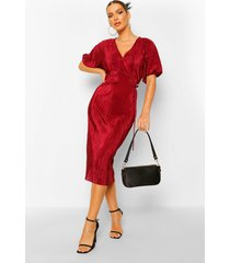 plisse buckle wrap midi dress, berry