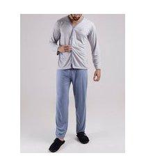 pijama longo masculino grafite/azul